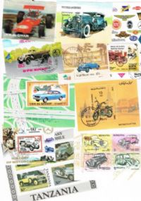 10 different cars and road transport miniature sheets packet